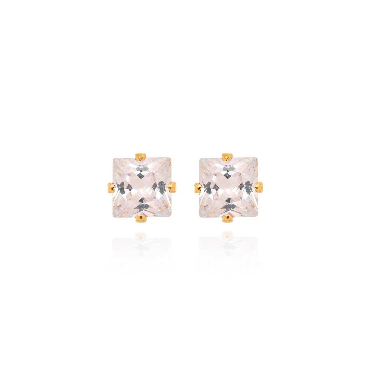 Brincos de Cristal Zircônia Banhado a Ouro 18K Quadrado BR7794