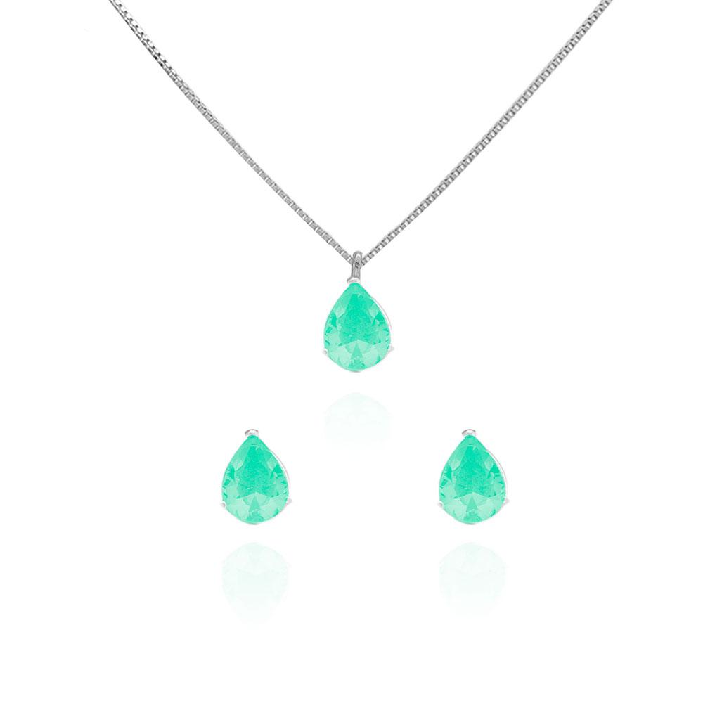 Conjunto Colar e Brincos em Prata de Lei 925 Gota Zircônia Verde CJ5004