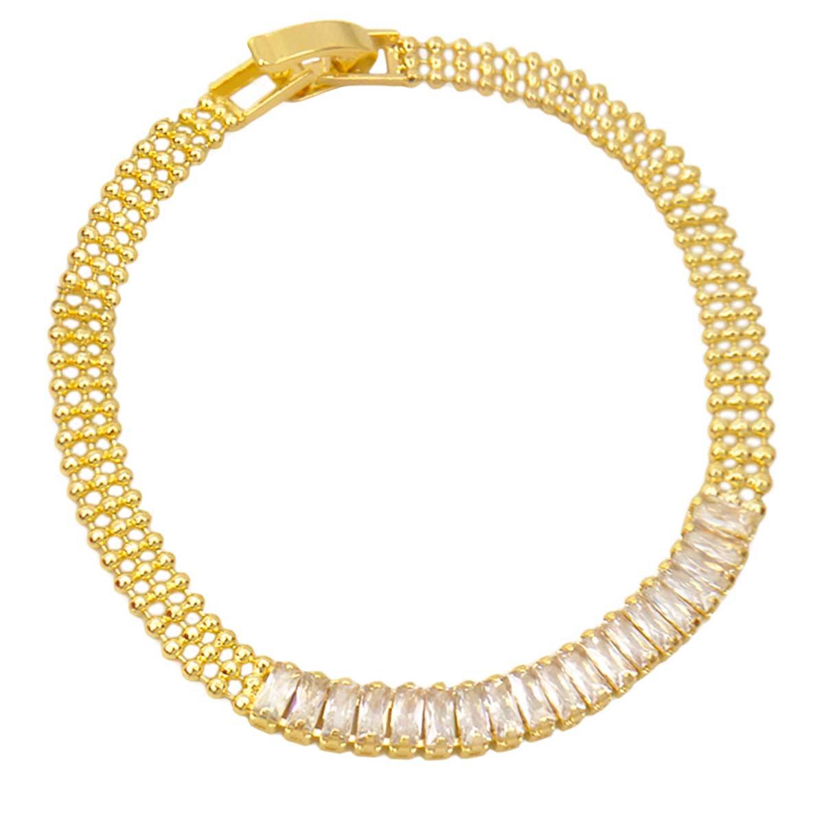 Pulseira de Cristal Zircônia Ouro 18K PU7045
