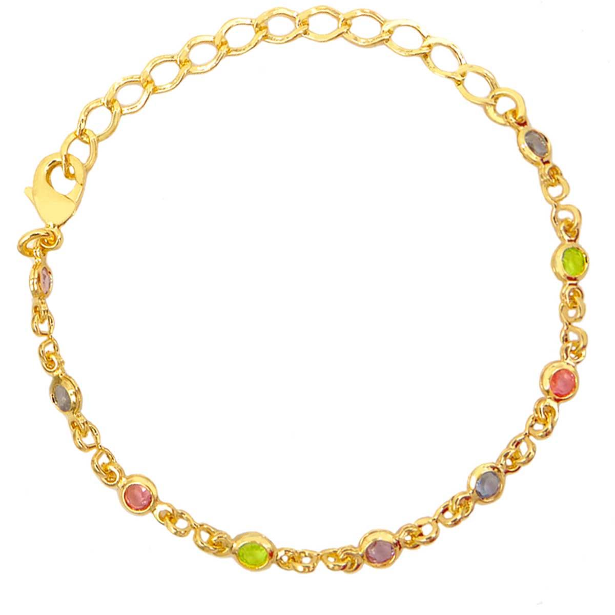 Pulseira Infantil Cristal Colorido Banhada a Ouro 18K PU7034