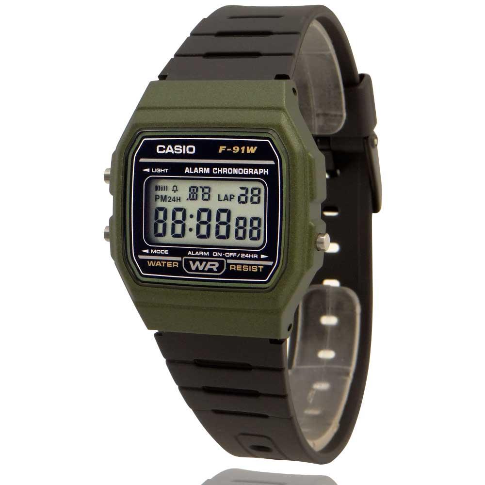 Relógio Casio Vintage Digital Verde e Preto F-91WM-3ADF + Carteira Lebrave Brinde