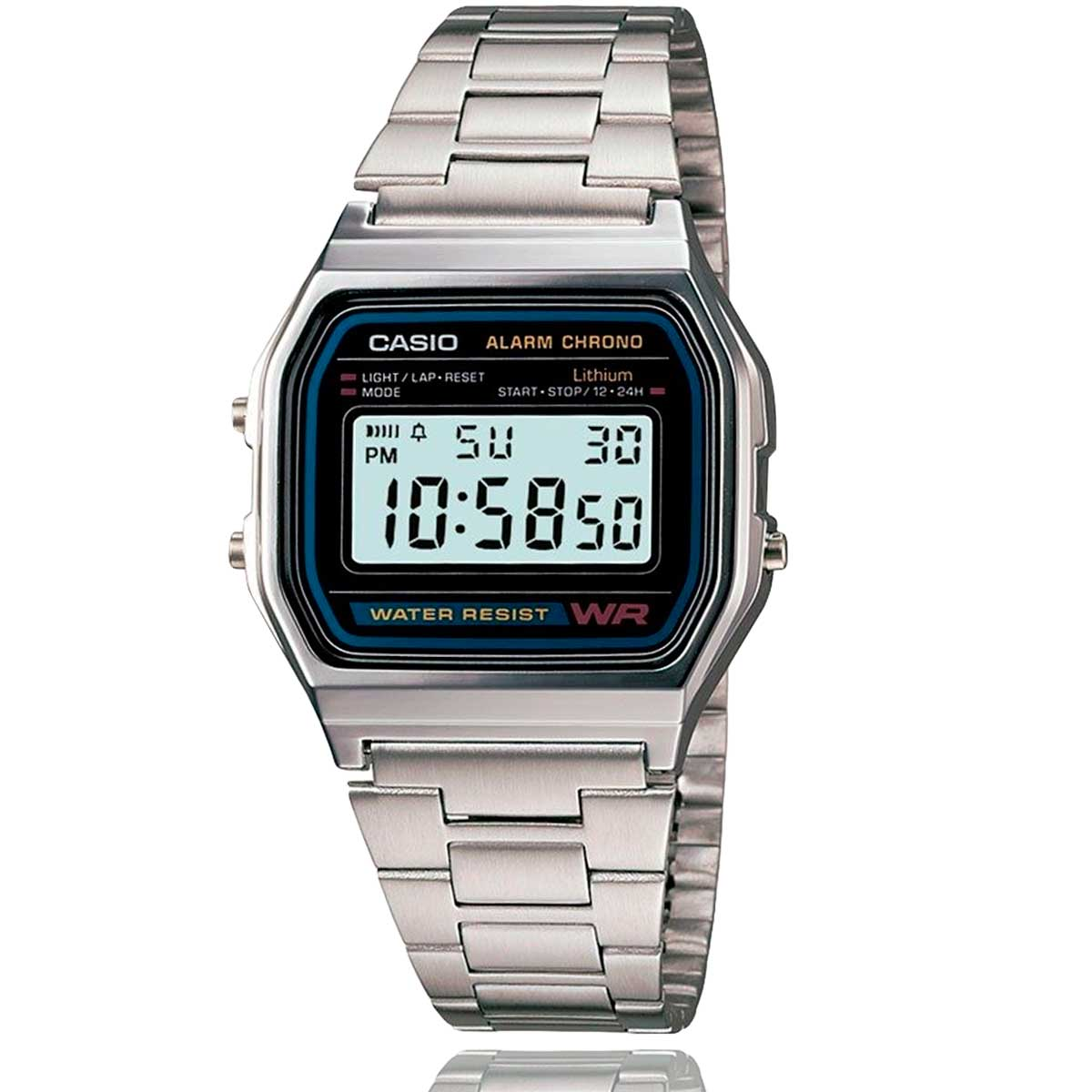 Relógio Casio Vintage Prata Digital A158WA-1DF-SC com Carteira Lebrave de Brinde