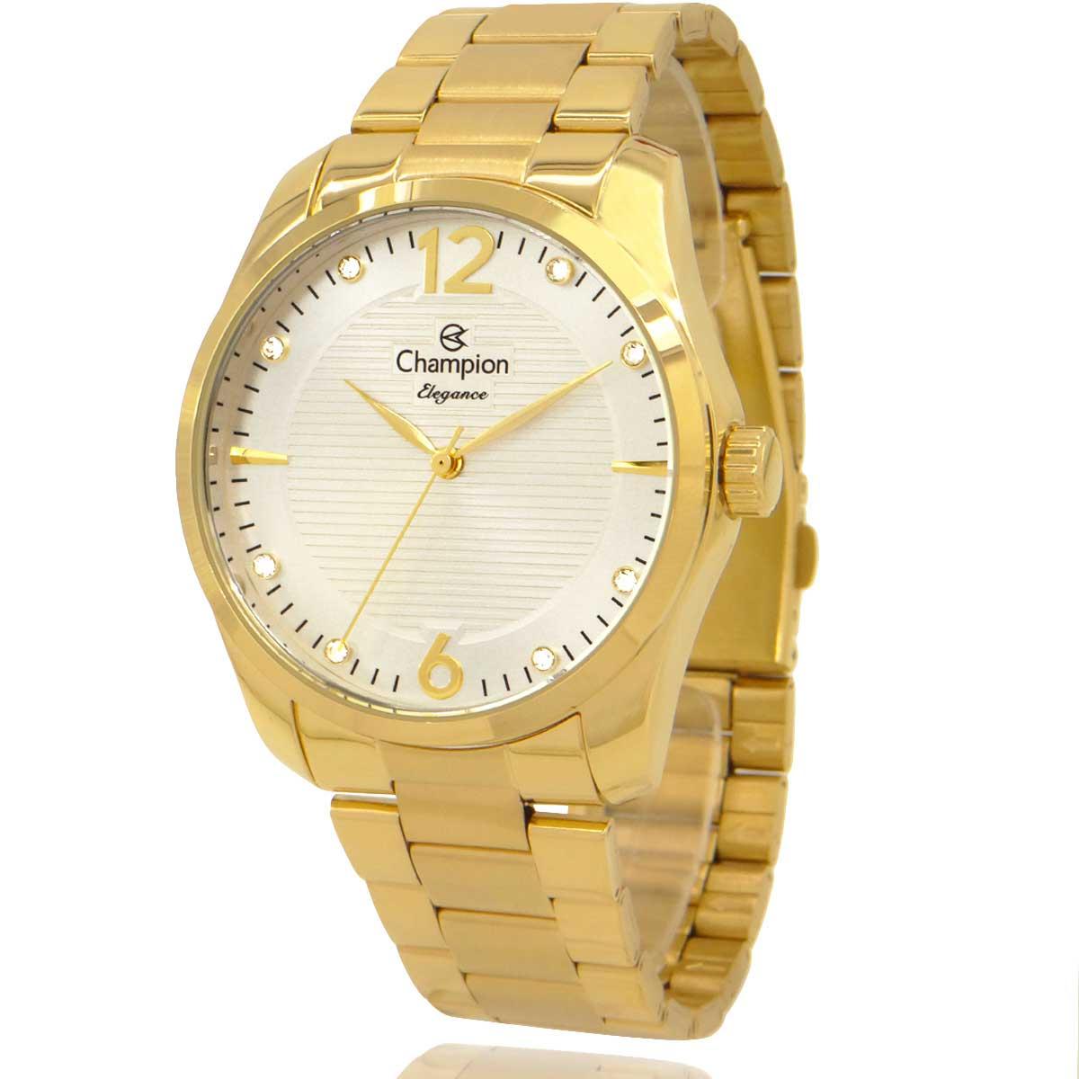 Relógio Champion Feminino Dourado Branco CN27607S