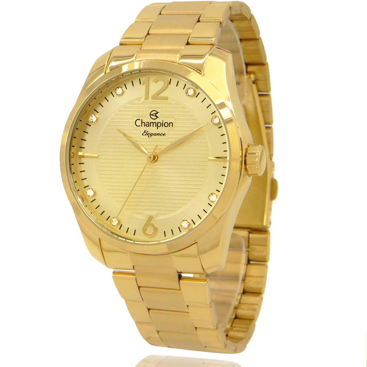 Relógio Champion Feminino Dourado com Colar e Brincos CN27607W