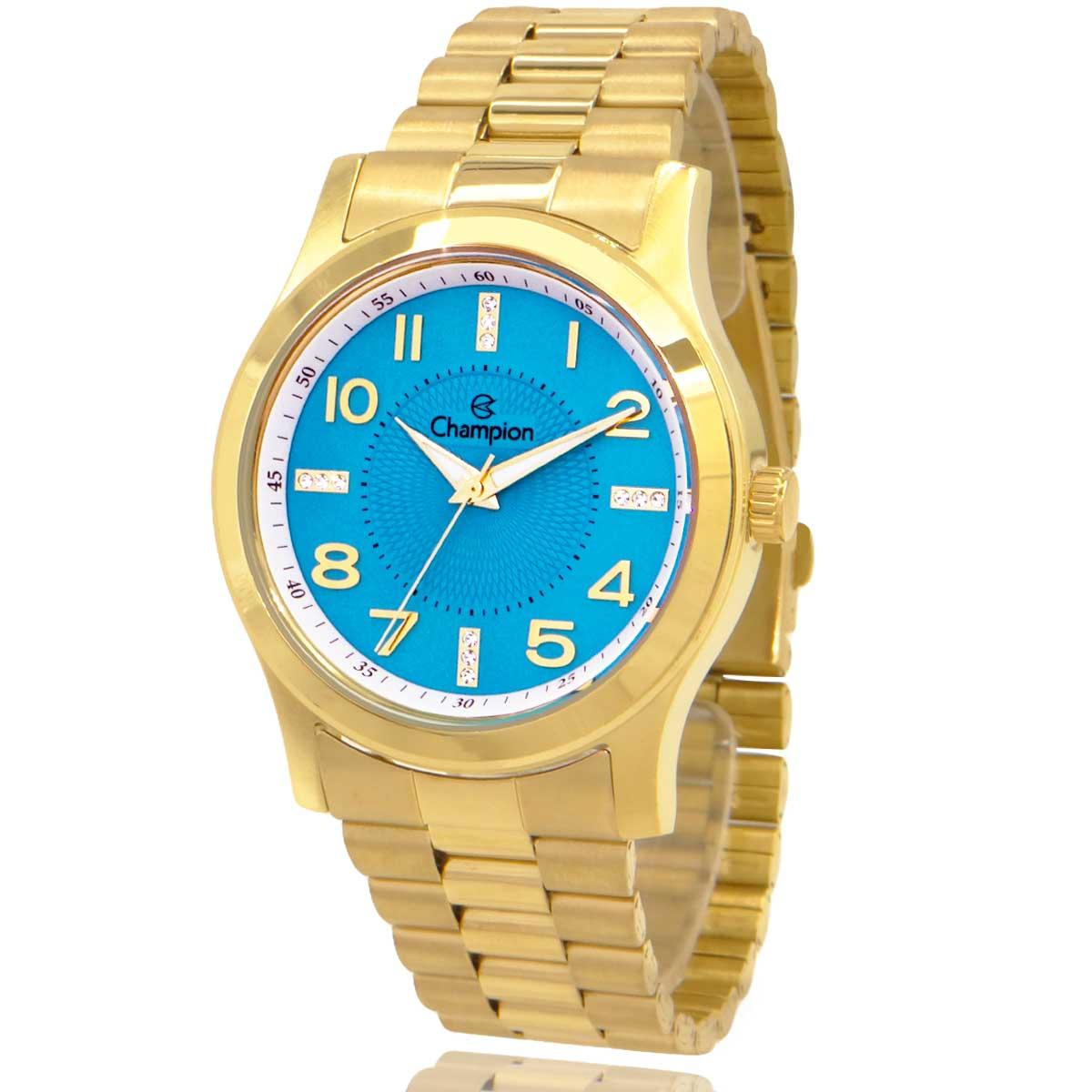 Relógio Champion Feminino Dourado e Azul com Colar e Brincos CN29221Y