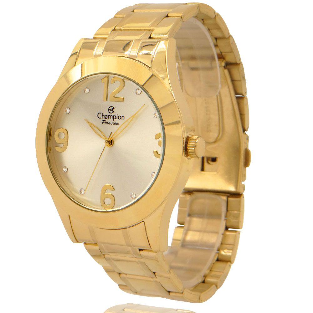 Relógio Champion Feminino Dourado e Branco com Colar e Brincos CH24268D