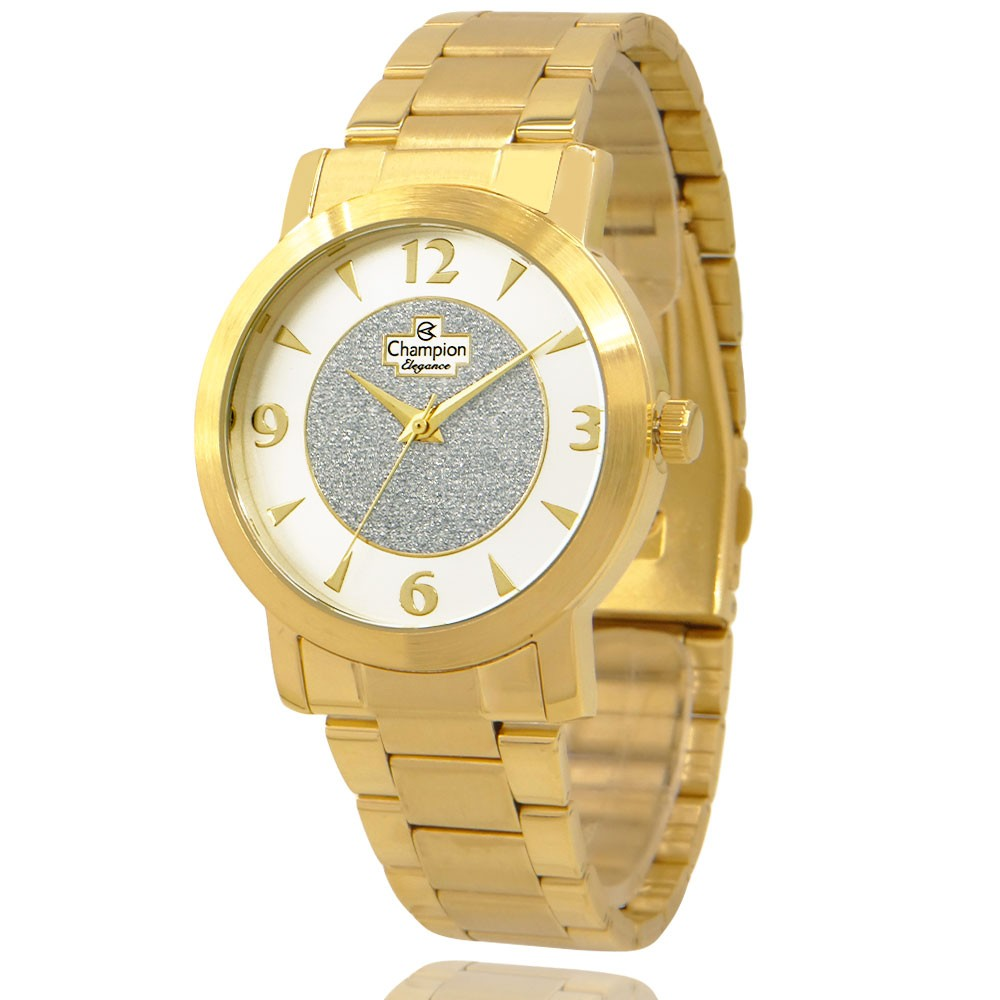 Relógio Champion Feminino Dourado e Branco com Colar e Brincos CN25136W