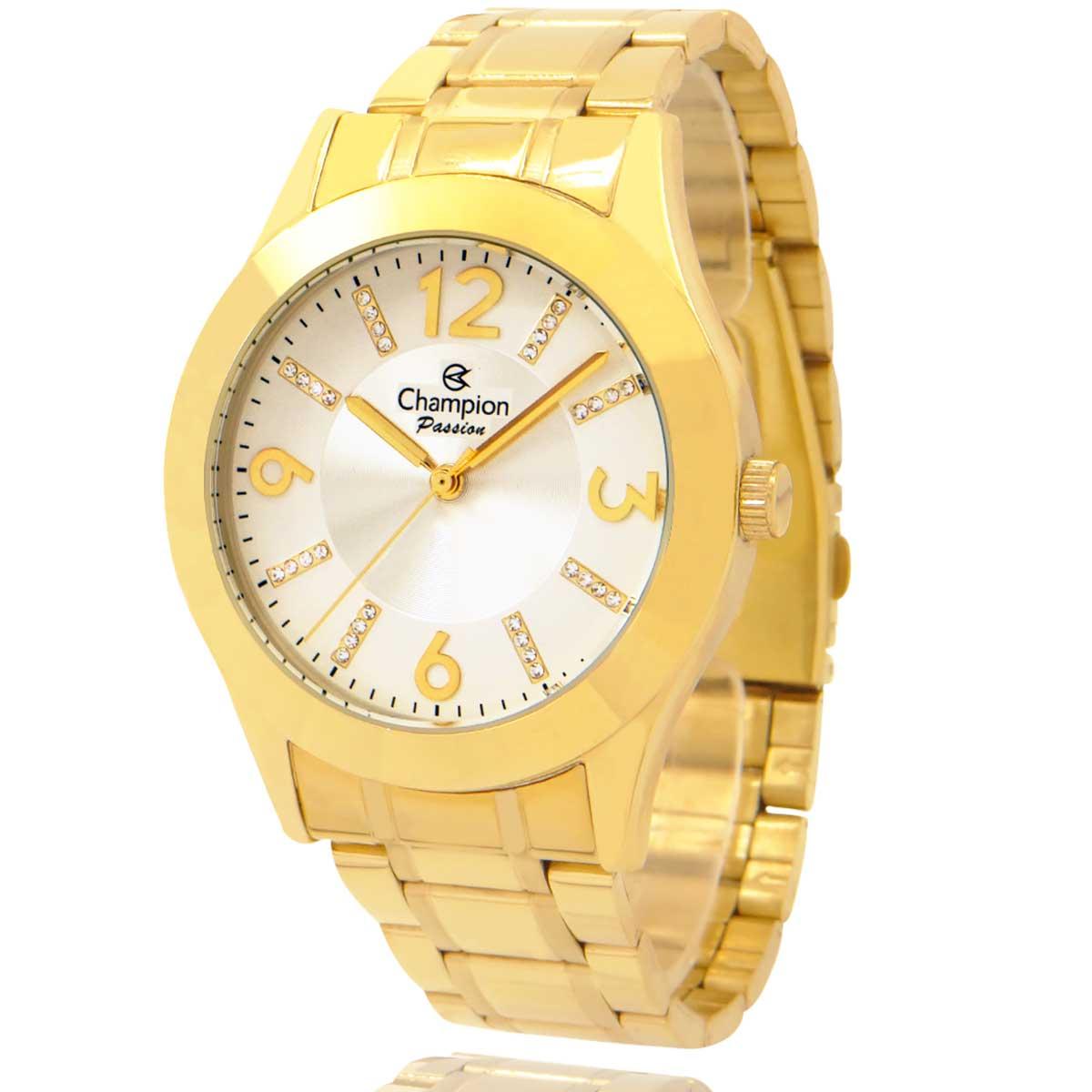 Relógio Champion Feminino Dourado e Branco com Colar e Brincos CN28713D