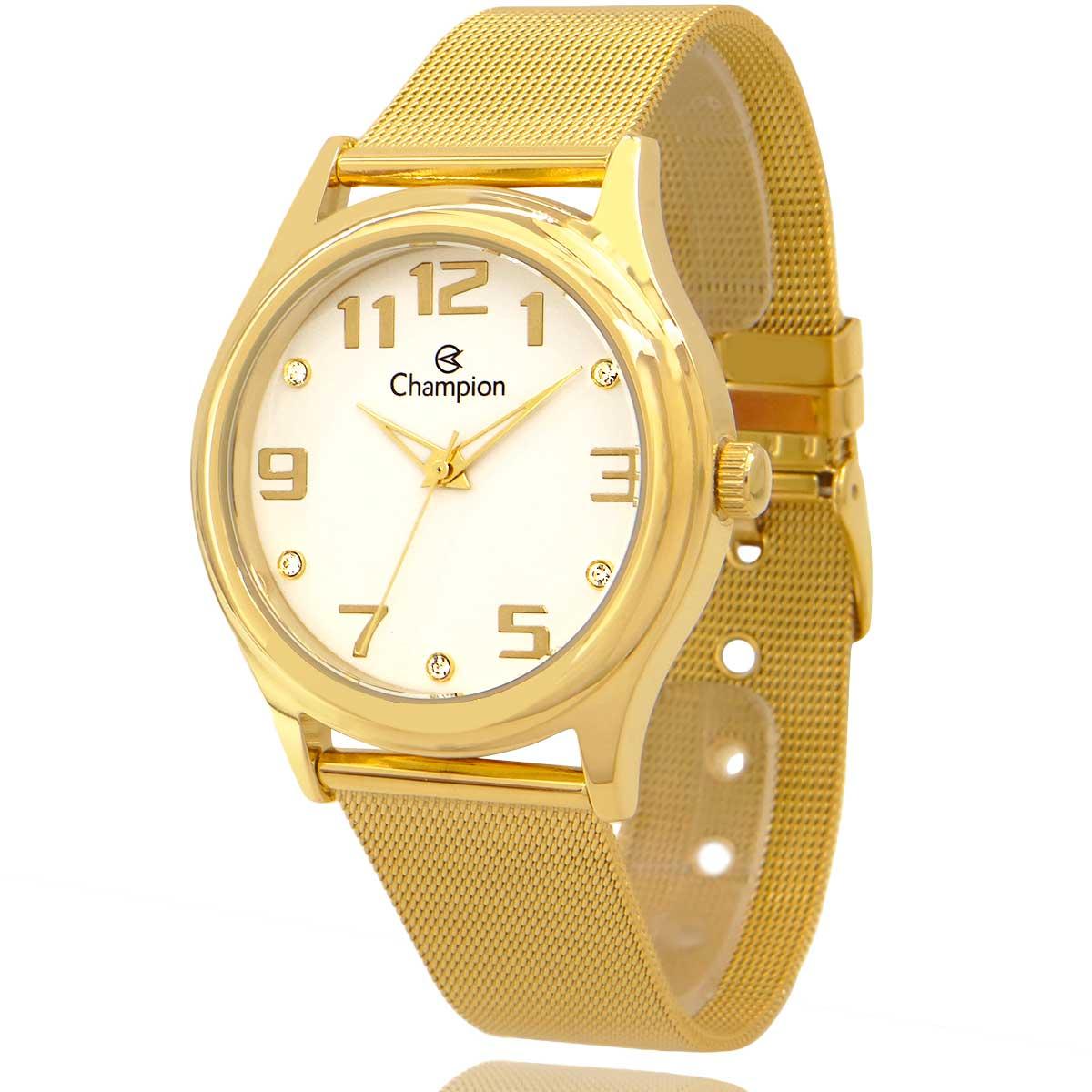 Relógio Champion Feminino Dourado e Branco com Colar e Brincos CN29007W