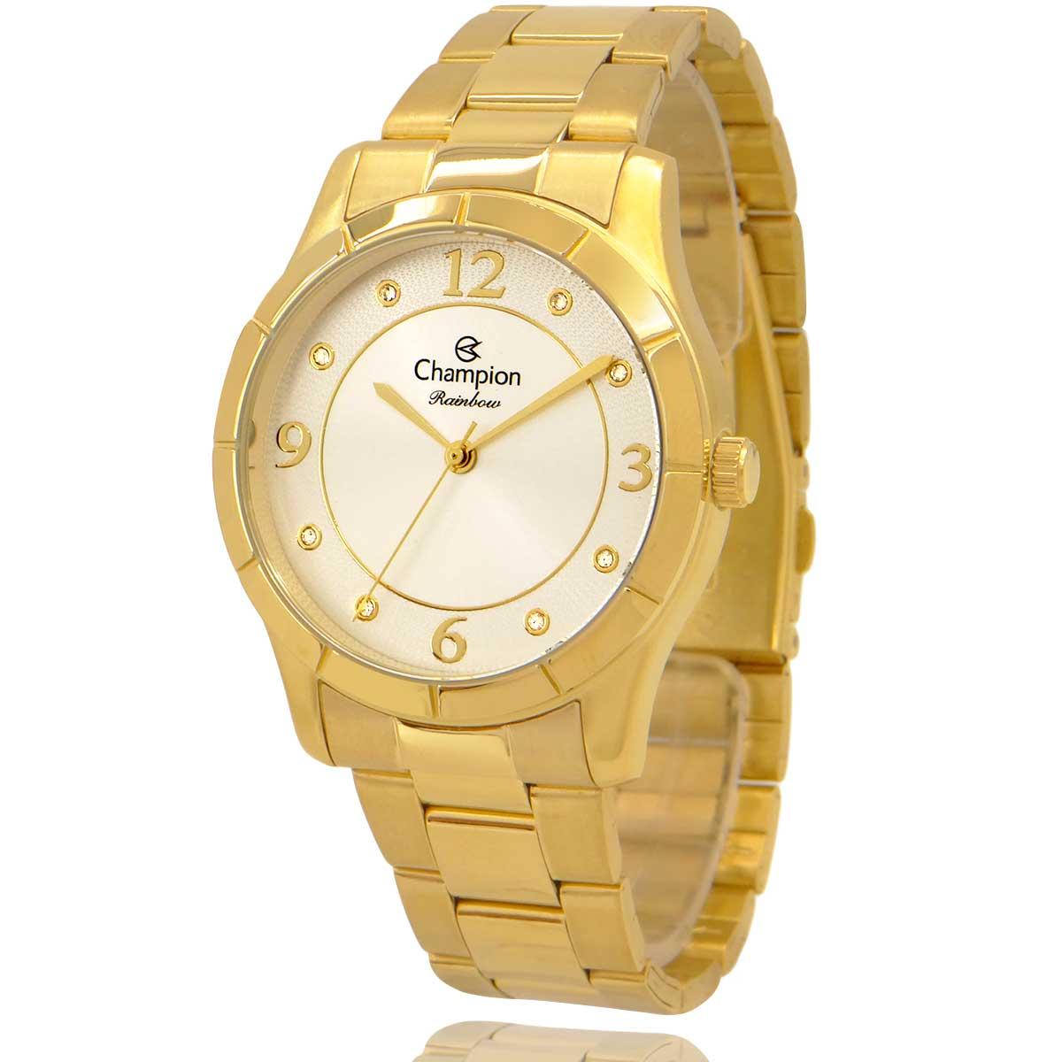 Relógio Champion Feminino Dourado e Branco com Colar e Brincos CN29909W