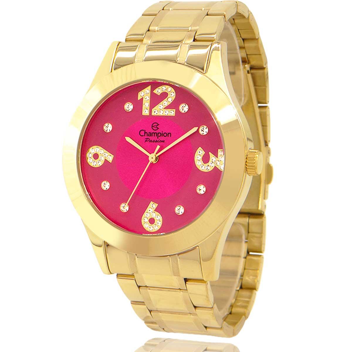 Relógio Champion Feminino Dourado e Rosa com Colar e Brincos CN29178L