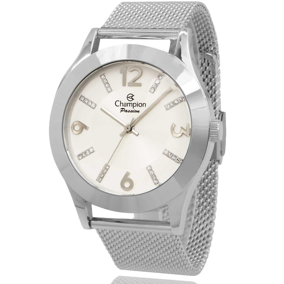Relógio Champion Feminino Prata com Colar e Brincos CN28713O