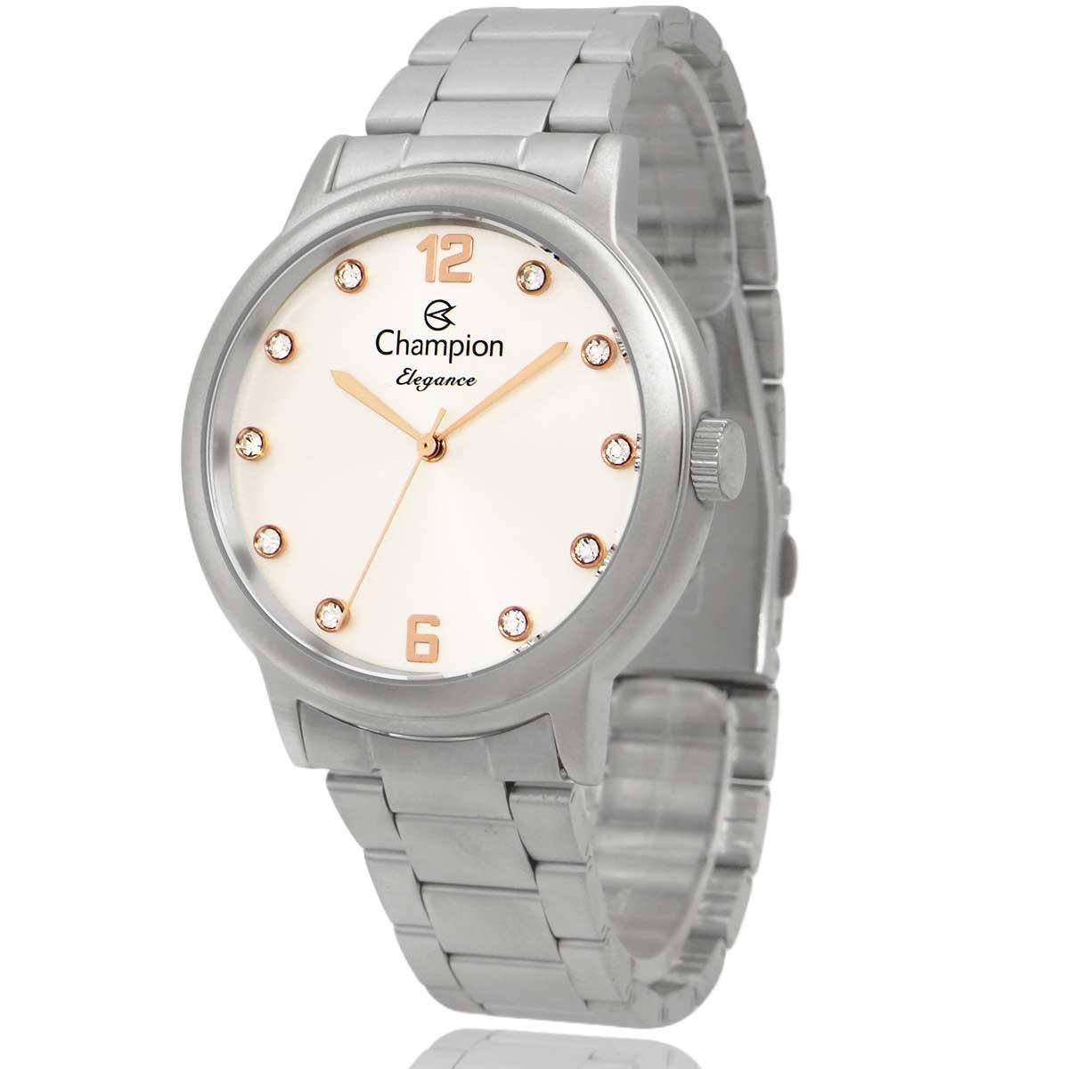 Relógio Champion Feminino Prata e Branco com Colar e Brincos CN28437Q