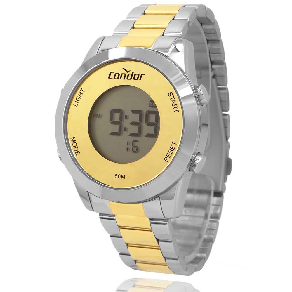 Relógio Condor Digital Feminino Prata e Dourado COBJ3279ACK5D