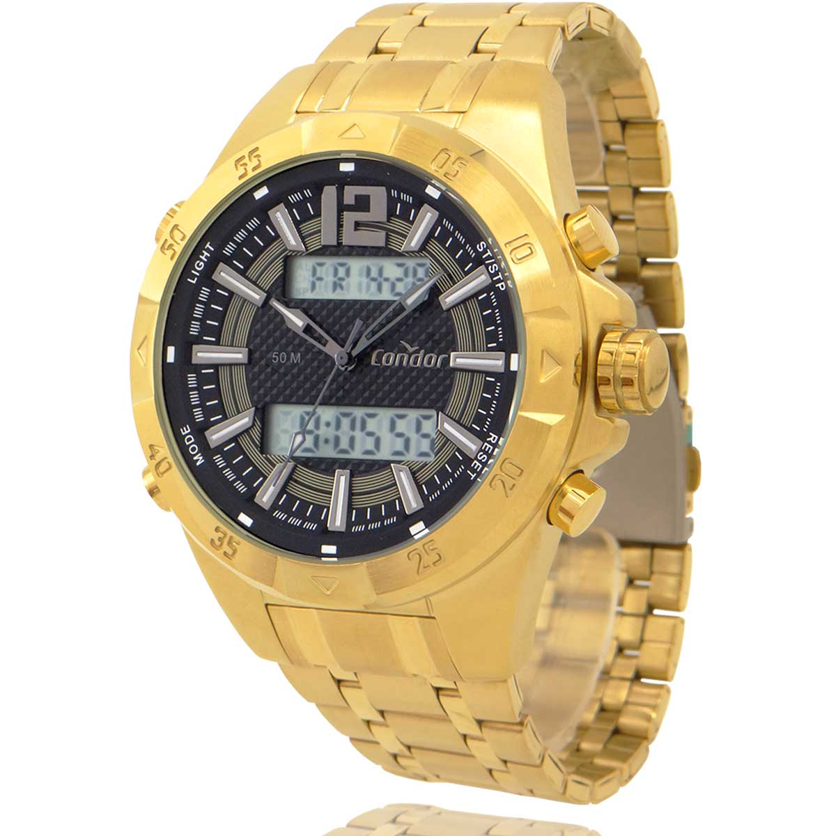 Relógio Condor Masculino Dourado com Carteira Lebrave de Brinde COBJK657AA4X