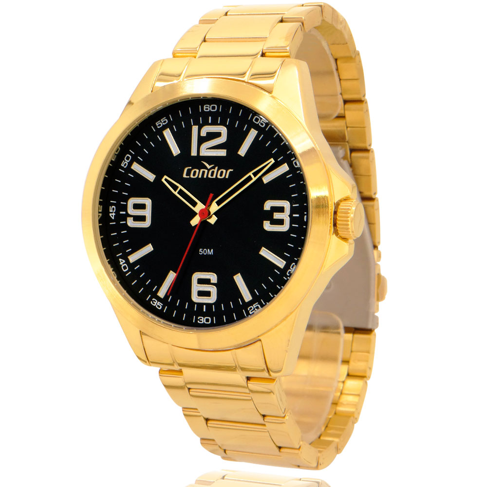 Relógio Condor Masculino Dourado COPC21AEEN4P com Carteira Lebrave de Brinde