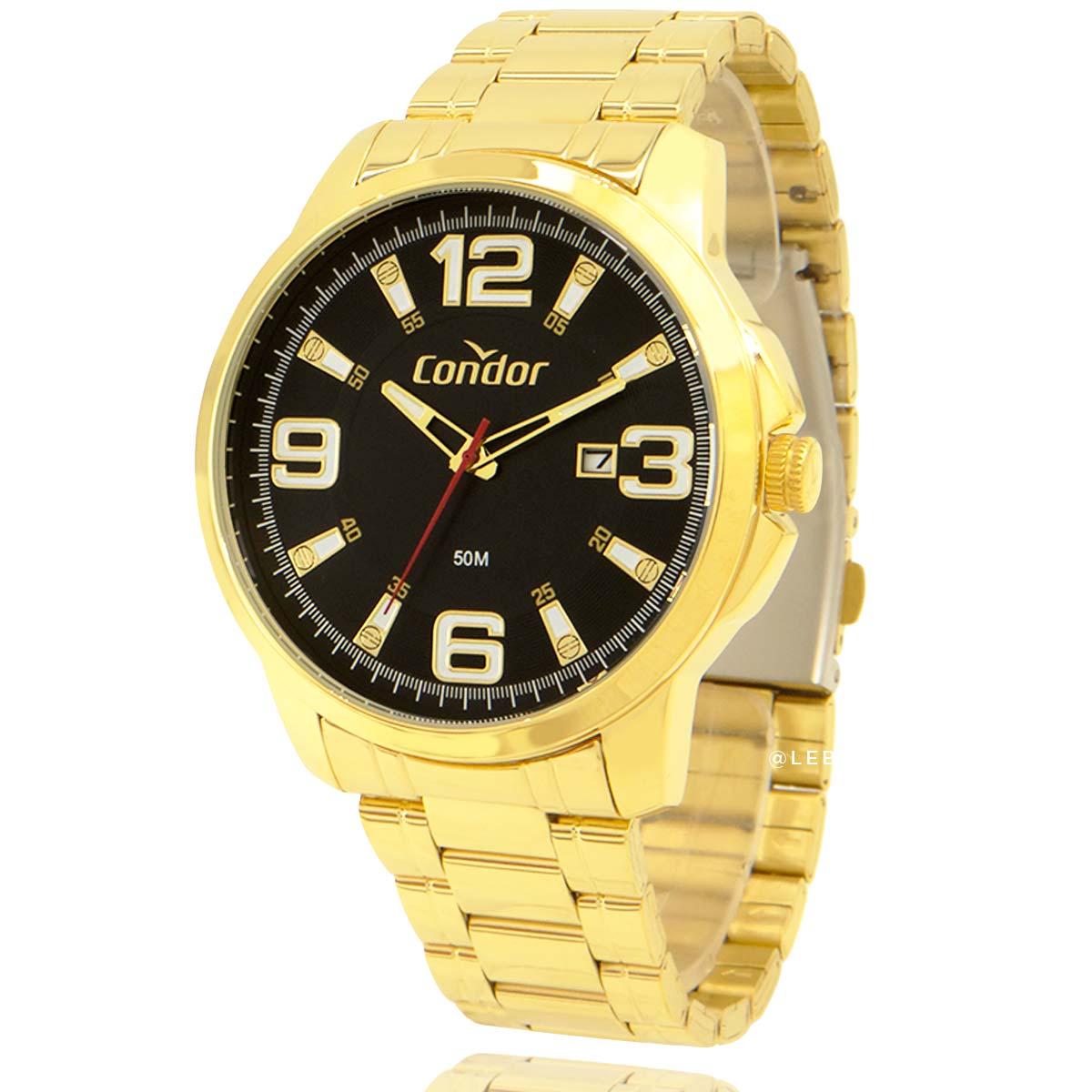Relógio Condor Masculino Dourado COPC32BY4P com Carteira Lebrave de Brinde