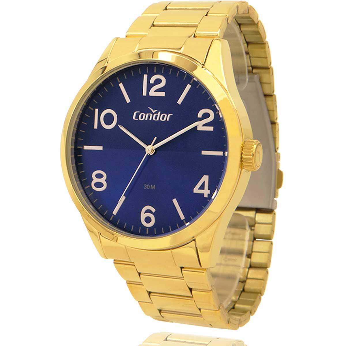Relógio Condor Masculino Dourado e Azul COPC21AEDWK4A com Carteira Lebrave e Pulseira de Brinde