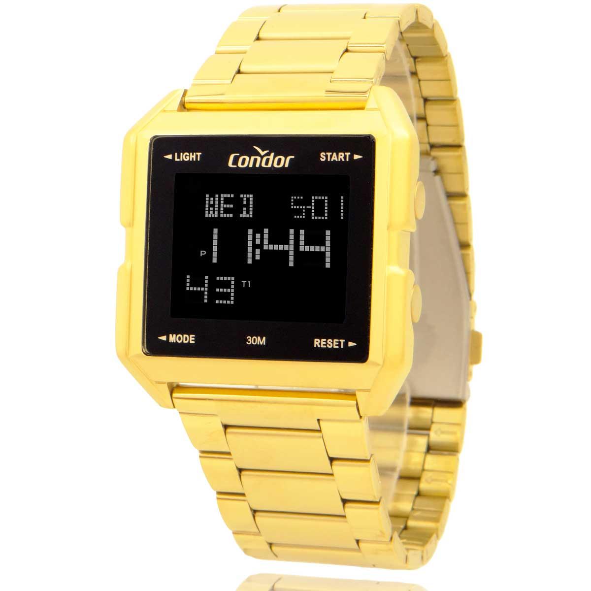 Relógio Digital Condor Masculino Dourado COBJ3074AA/4D com Carteira Lebrave Brinde