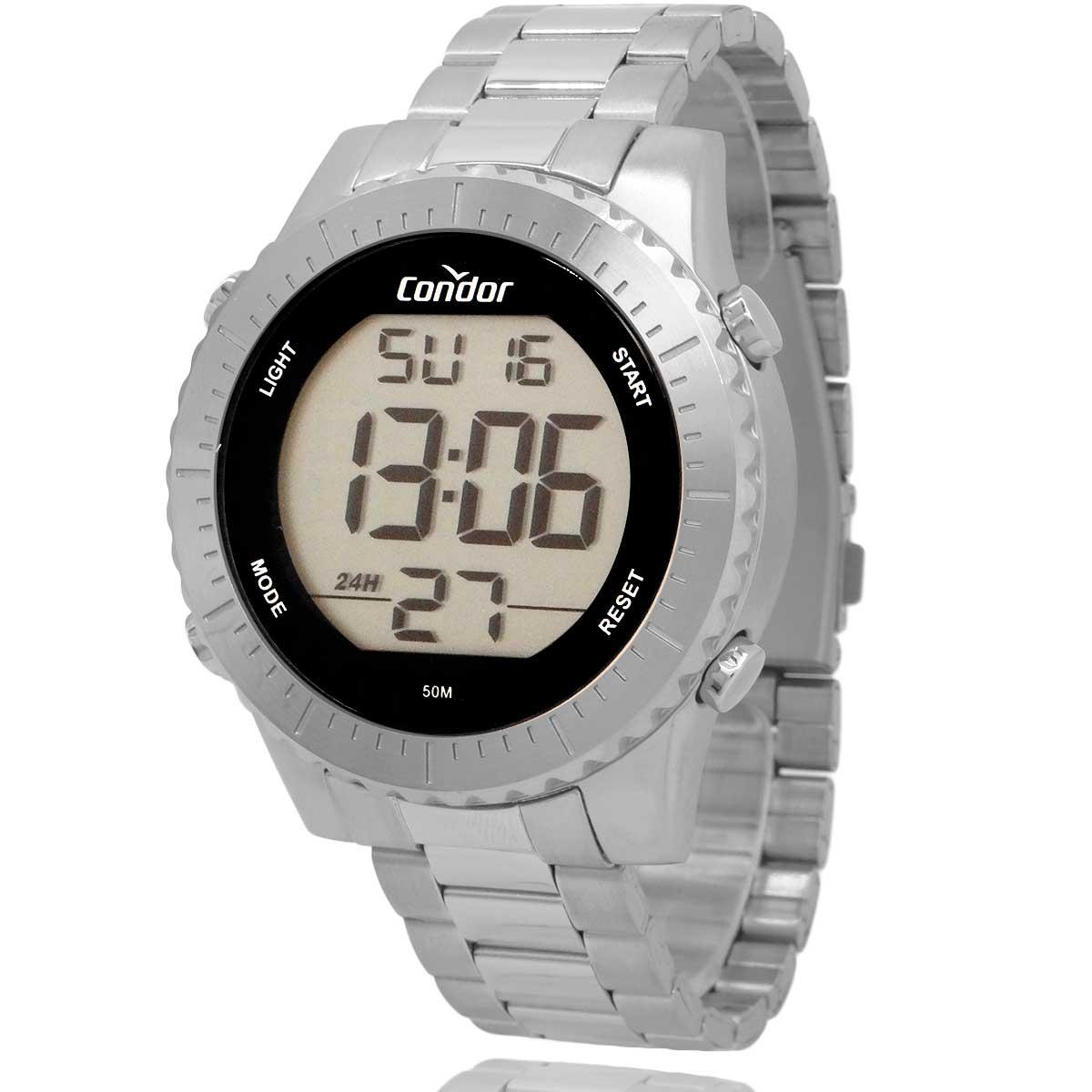 Relógio Digital Condor Masculino Prata com Carteira Lebrave Brinde COBJ3463AB2K