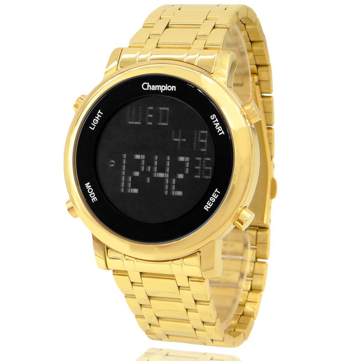 Relógio Digital Feminino Champion Dourado com Colar e Brincos CH40213H