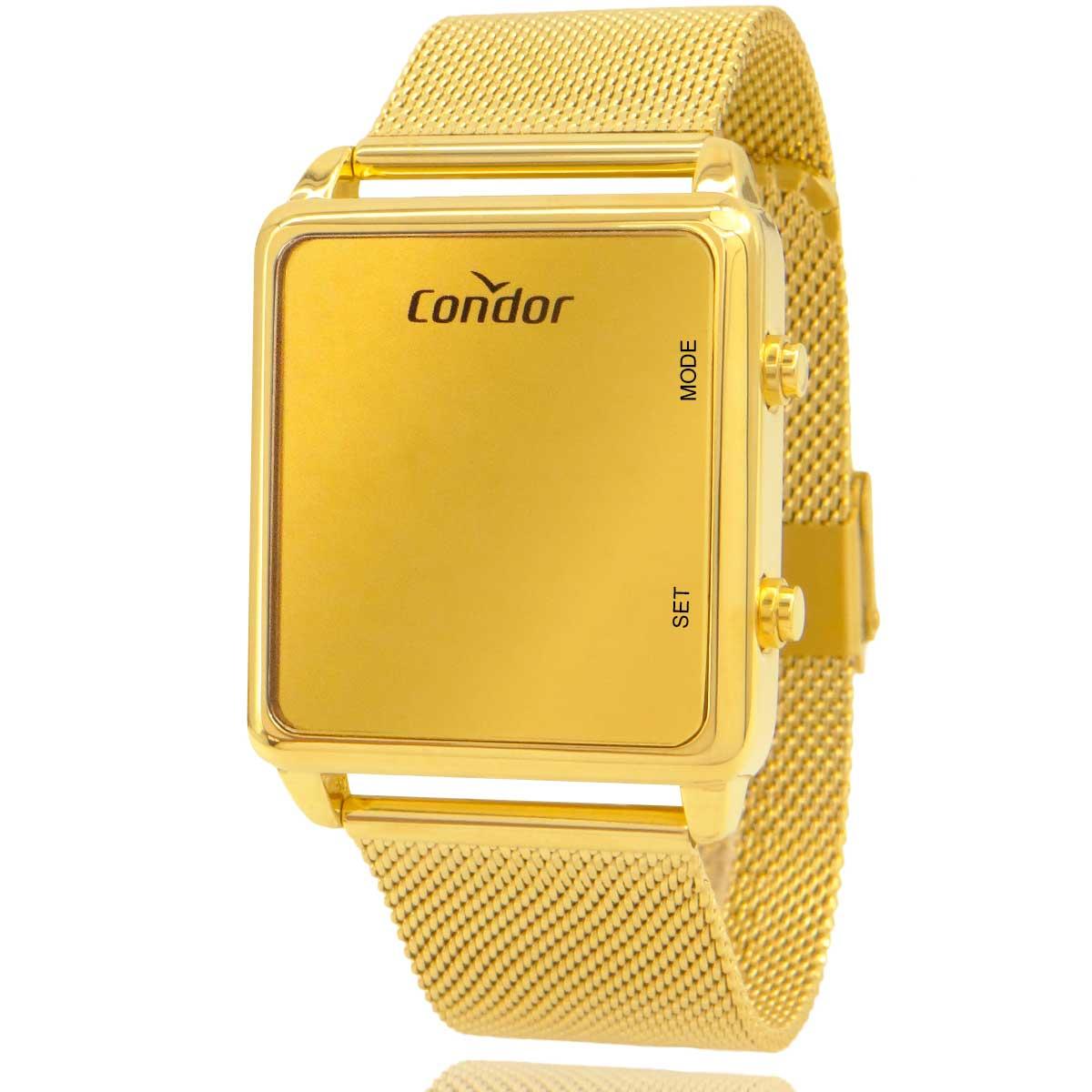 Relógio Digital Feminino Condor Dourado COMD1202AF4D com Colar e Brincos de Brinde