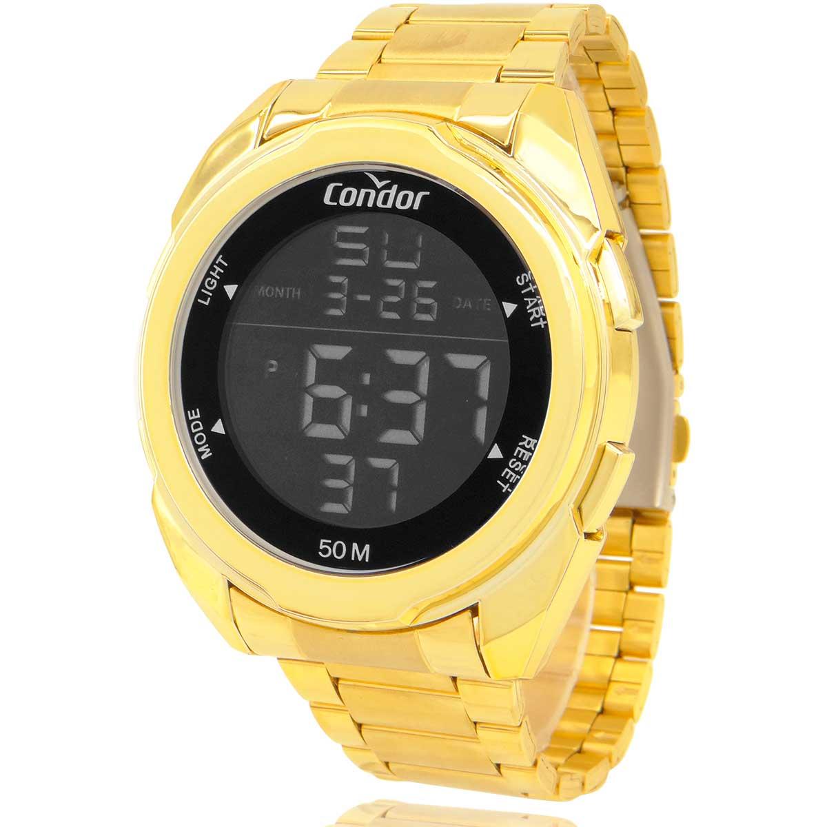 Relógio Digital Masculino Condor Dourado COBJK006AB7D com Carteira Lebrave Brinde