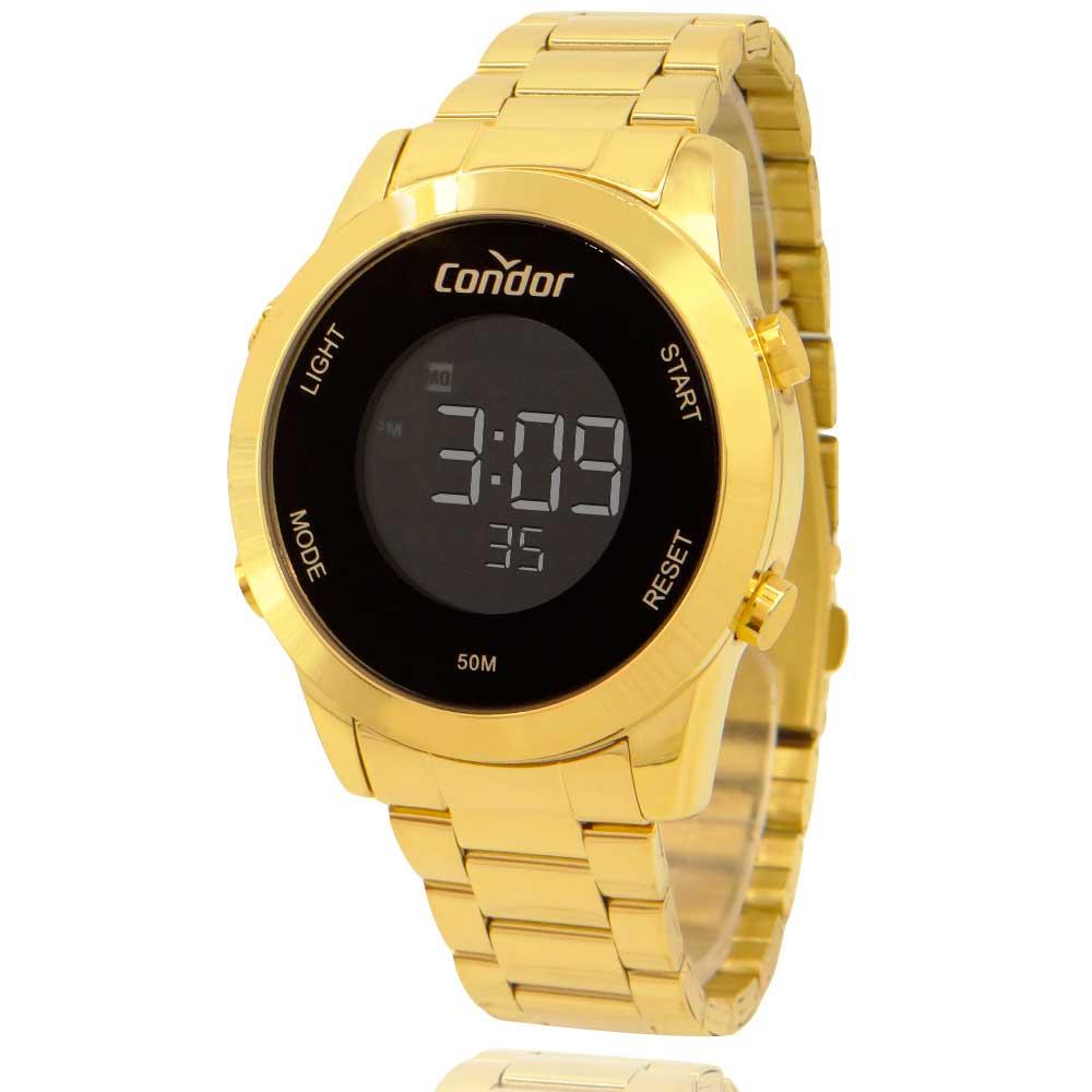 Relógio Digtal Masculino Condor Dourado COBJ3279AA4P com Carteira Lebrave de Brinde