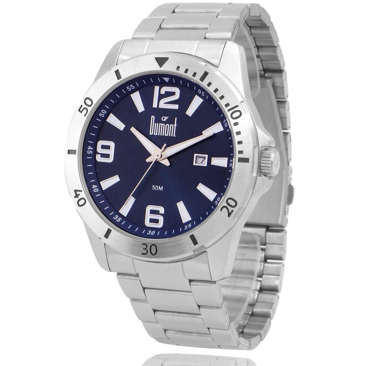 Relógio Dumont Masculino Prata e Azul com Carteira Lebrave de Brinde DU2115AAR4A
