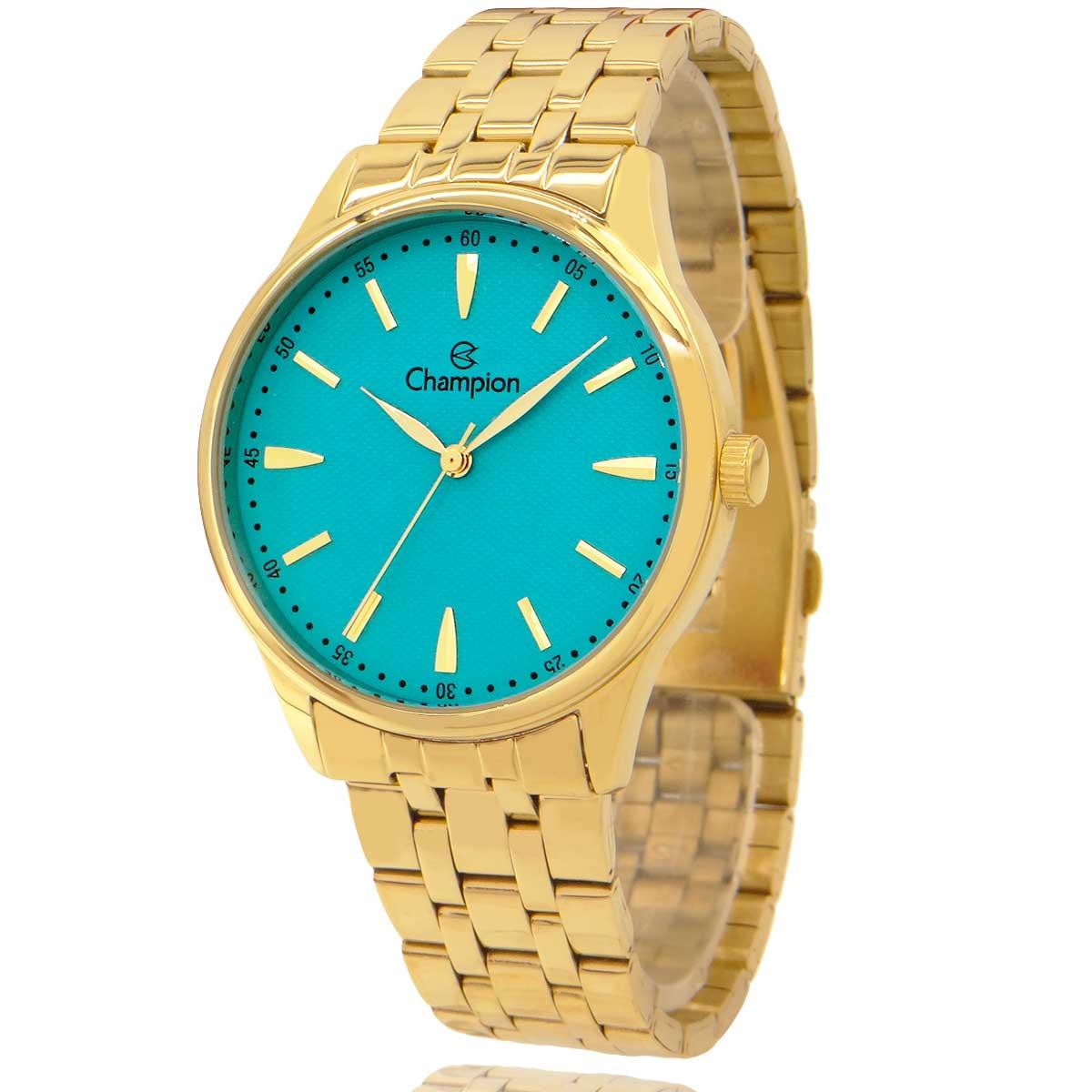 Relógio Feminino Champion Dourado e Azul Com Colar E Brincos CN29516Y