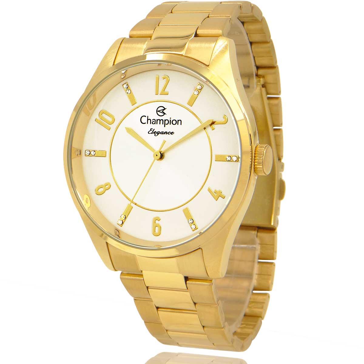 Relógio Feminino Champion Dourado e Branco com Colar e Brincos CN26288W