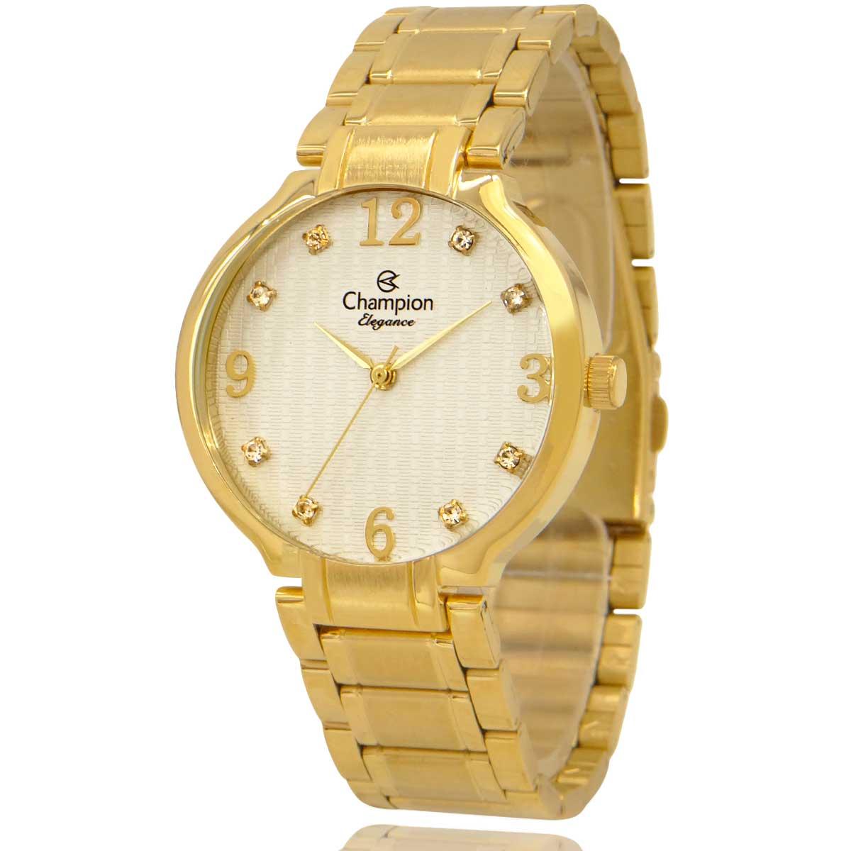 Relógio Feminino Champion Dourado e Branco com Colar e Brincos CN26831W