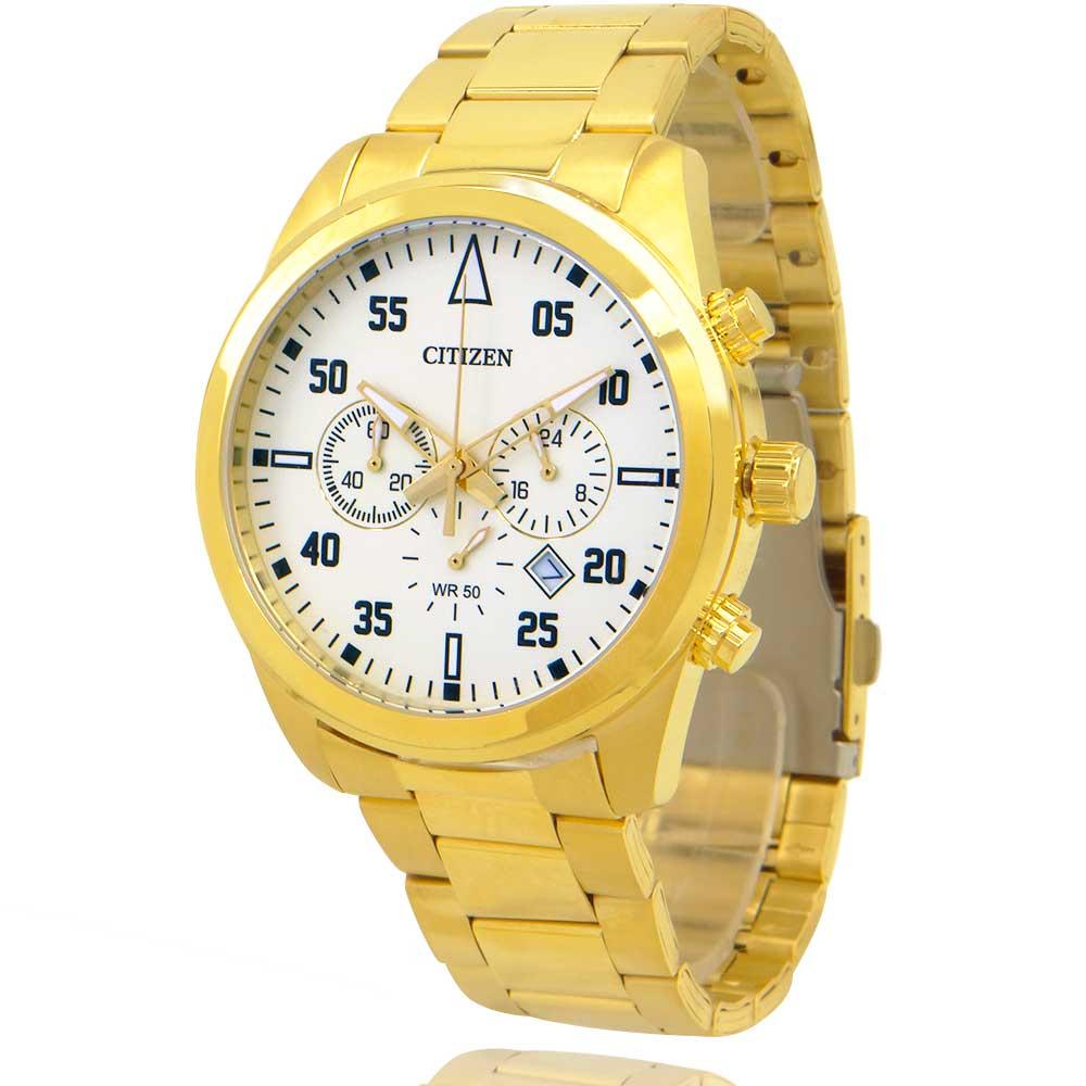 Relógio Masculino Citizen Cronógrafo Dourado e Branco TZ30795G + Carteira Lebrave de Brinde
