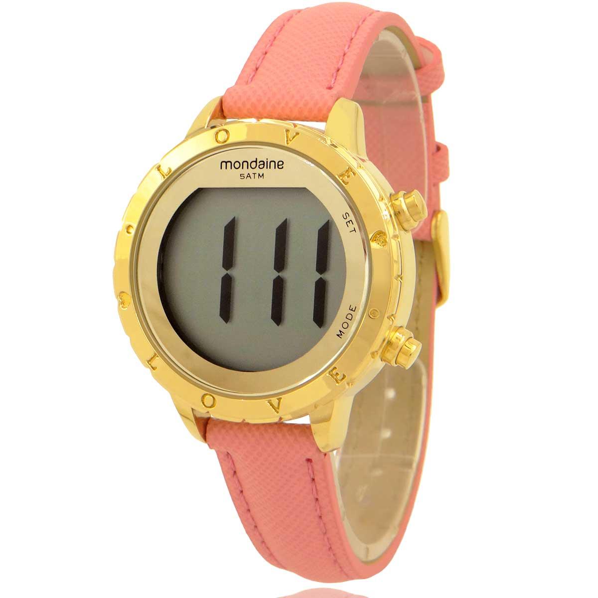 Relógio Mondaine Feminino Dourado Digital com Colar e Brincos 32143LPMVDHF
