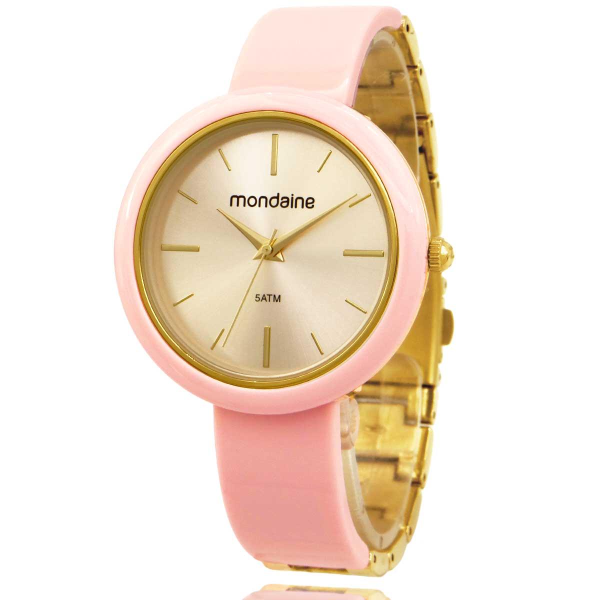 Relógio Mondaine Feminino Rosa e Dourado 53974LPMVDF1