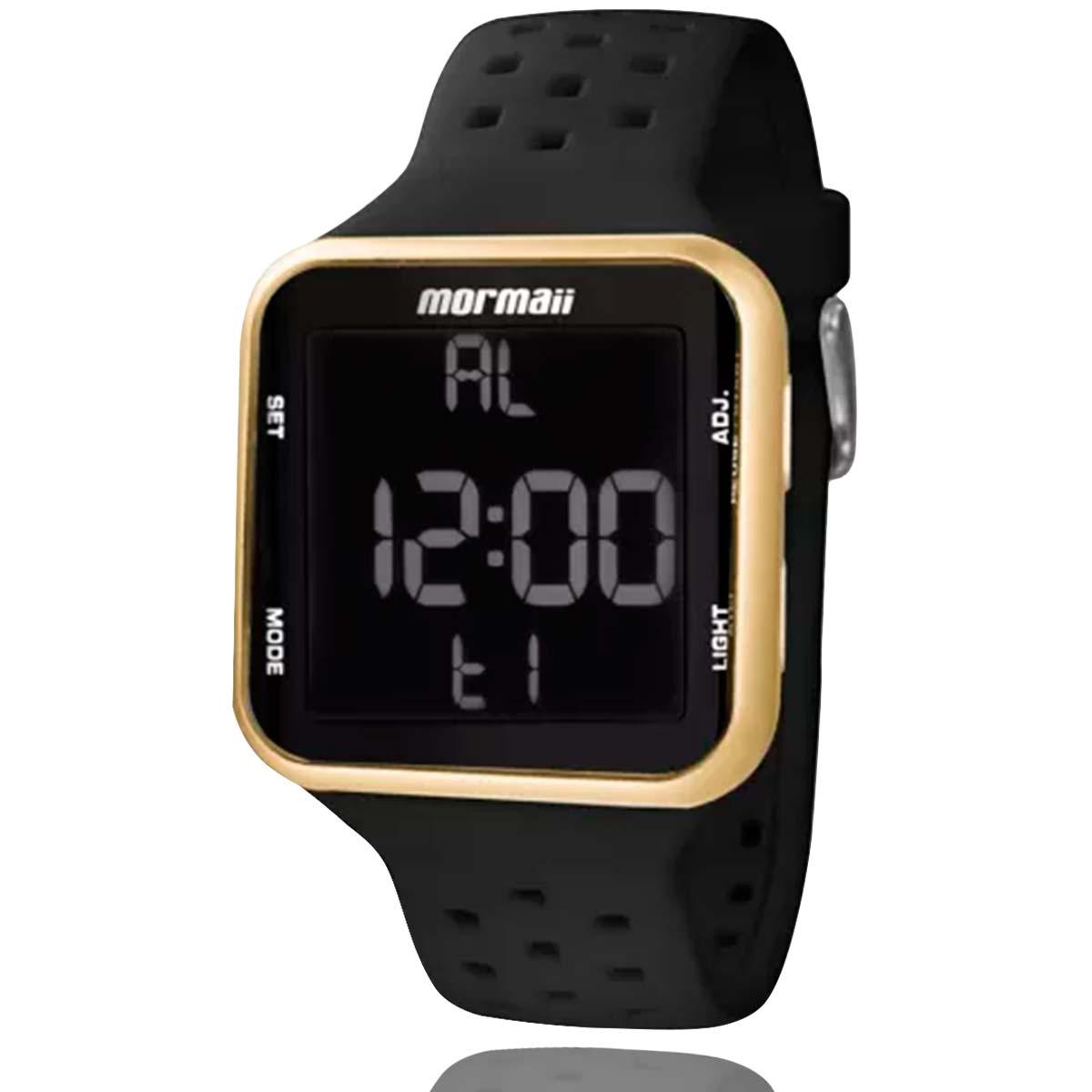 Relógio Mormaii Digital Dourado MO66008D com Carteira Lebrave Brinde