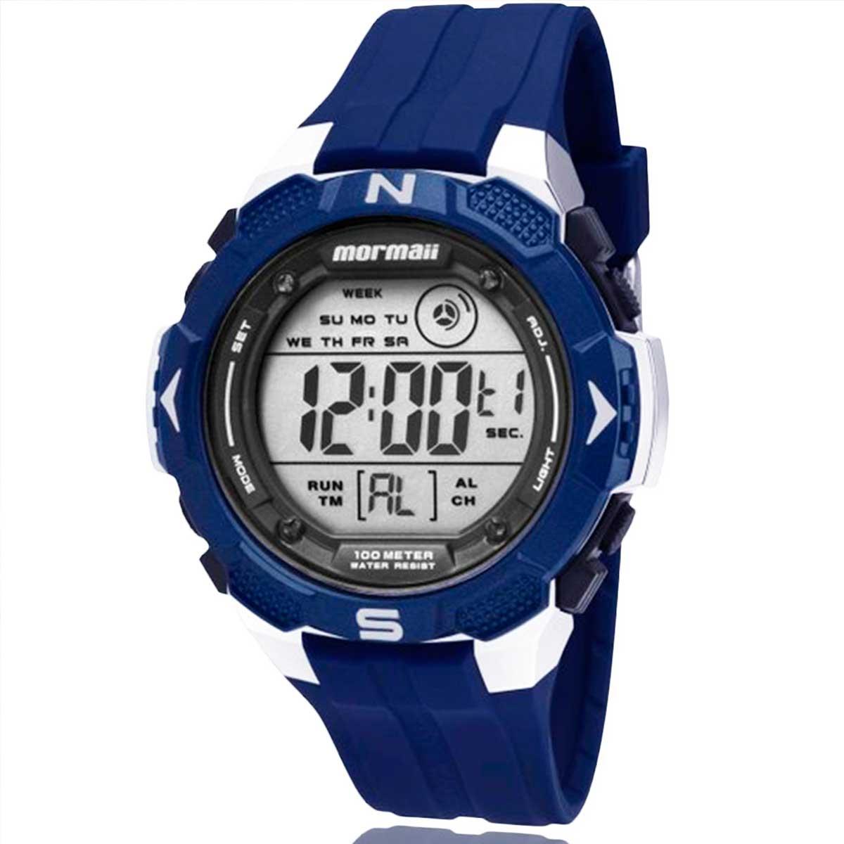Relógio Mormaii Digital Masculino Azul MO29088A com Carteira Lebrave de Brinde