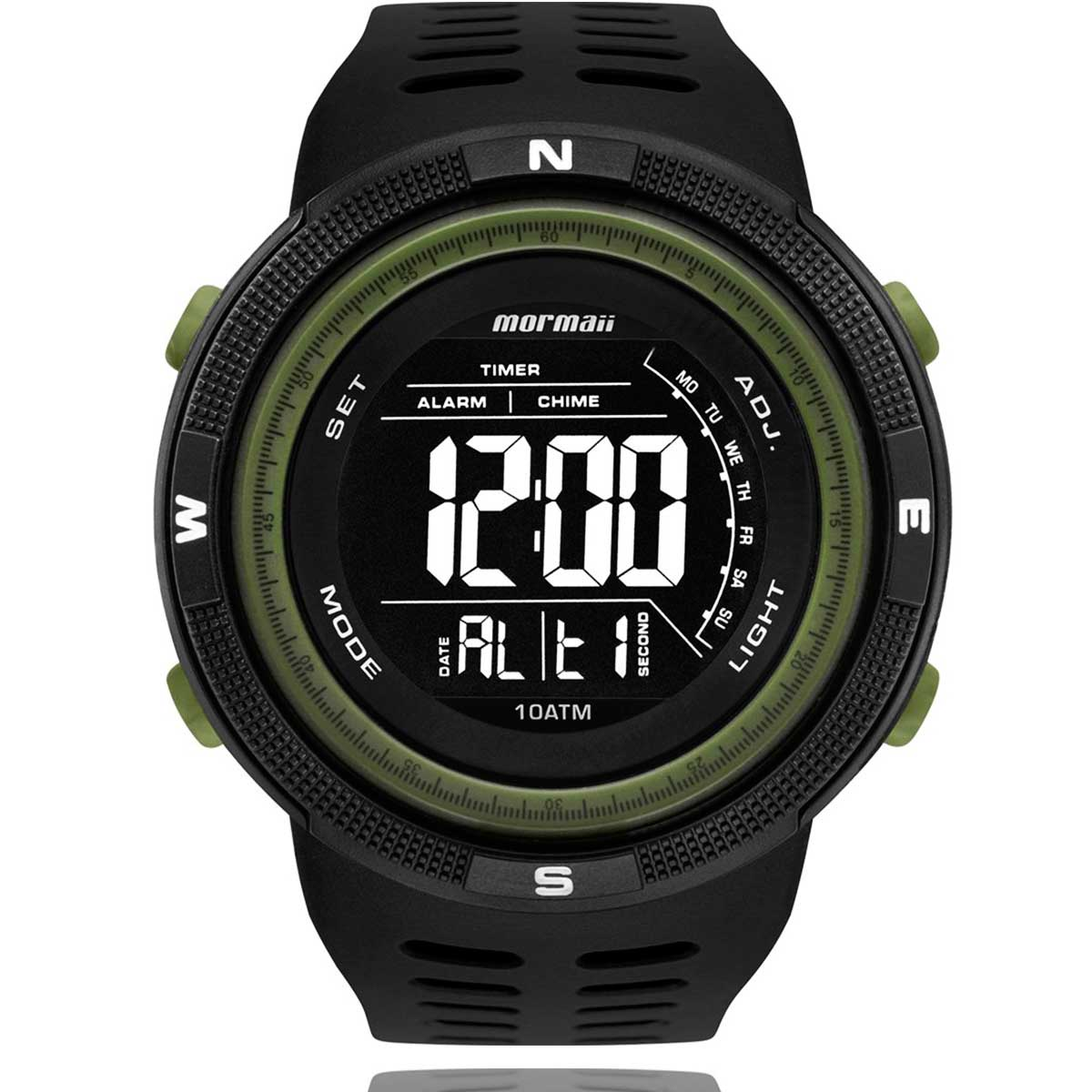 Relógio Mormaii Digital Masculino Preto e Verde MO3590AD8V com Carteira Lebrave de Brinde