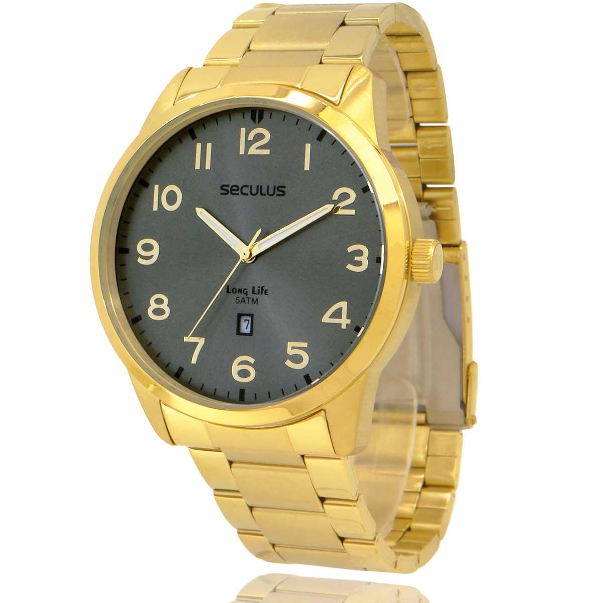Relógio Seculus Masculino Dourado e Cinza com Carteira Lebrave de Brinde 20801GPSVDA2
