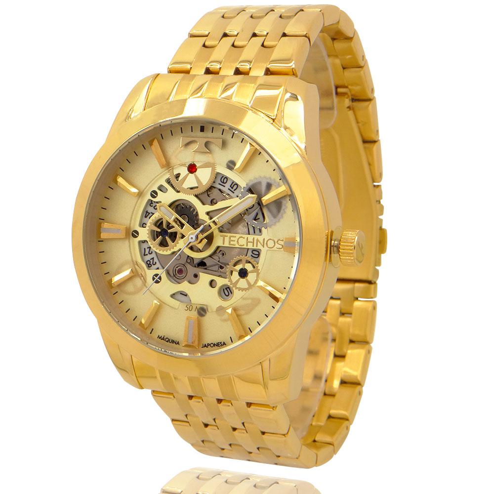 Relógio Technos Automático Masculino Dourado com Carteira Lebrave de Brinde 8205NQ4X