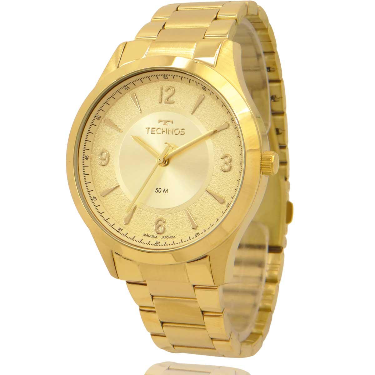 Relógio Technos Feminino Dourado com Colar e Brincos 2036MOM1X
