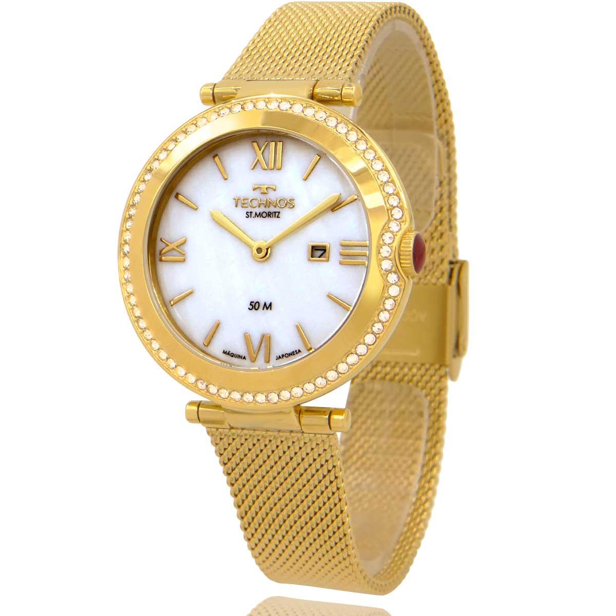 Relógio Technos Feminino Dourado com Colar e Brincos de Brinde GL15AW1B