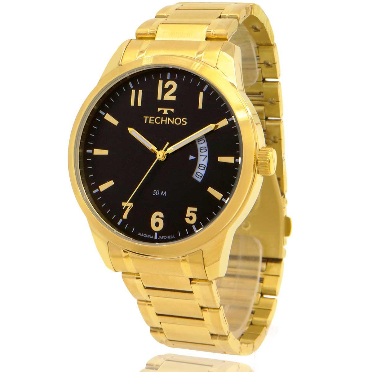 Relógio Technos Masculino Dourado 2115KTPTDY/4P com Carteira Lebrave de Brinde