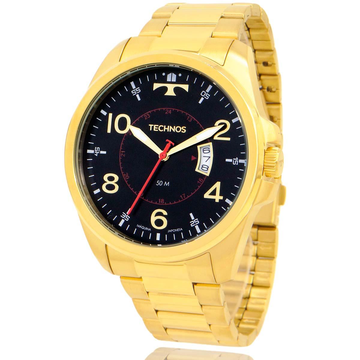 Relógio Technos Masculino Dourado 2115MYRK1P com Carteira Lebrave de Brinde