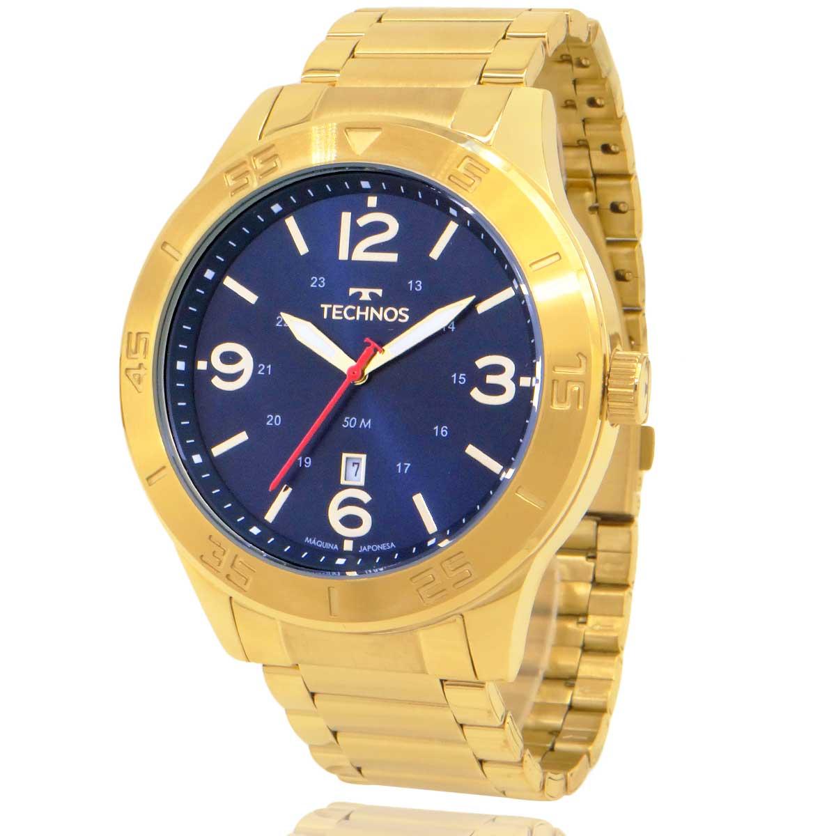 Relógio Technos Masculino Dourado 2115MYW1A com Carteira Lebrave de Brinde