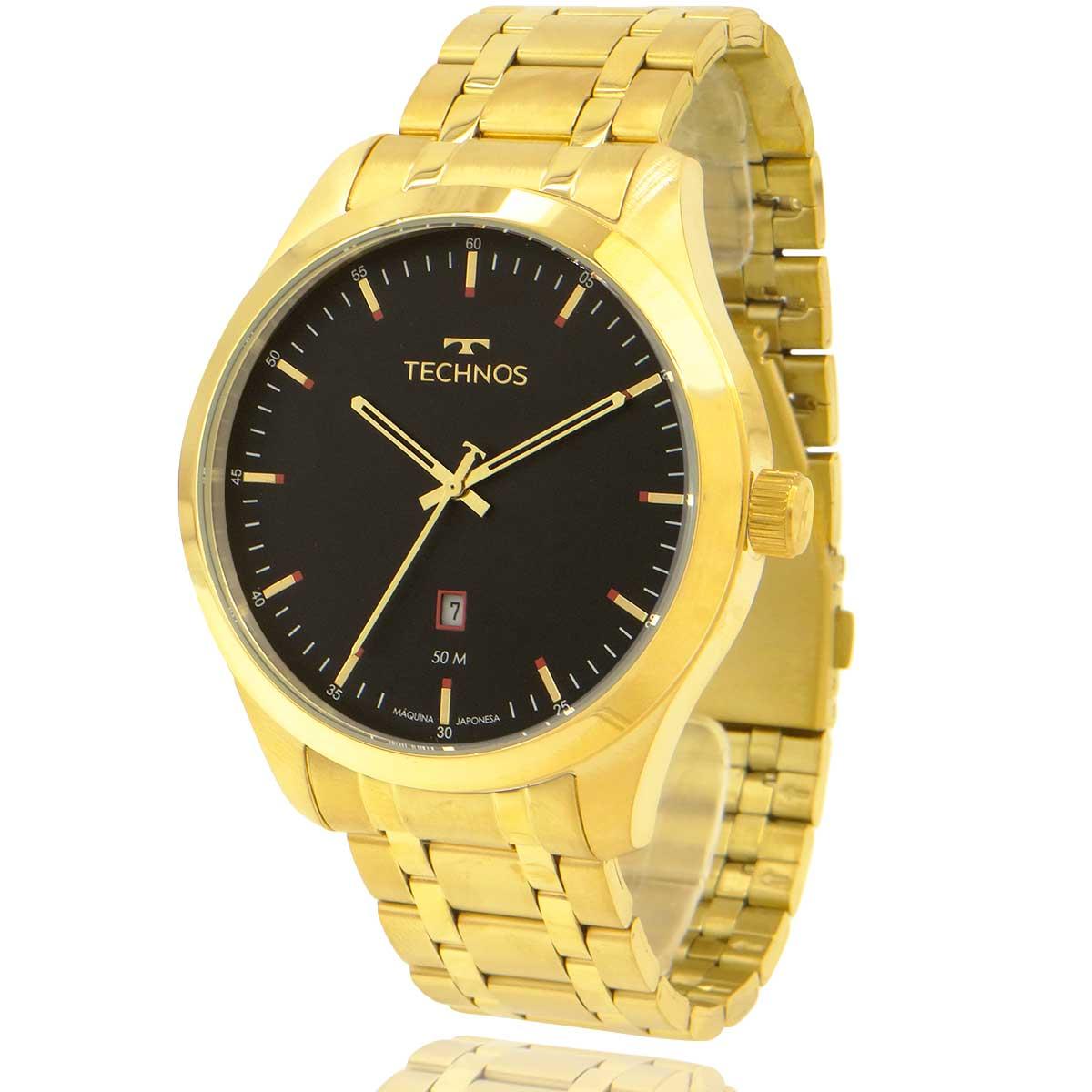 Relógio Technos Masculino Dourado e Preto 2115MSBS4P com Carteira Lebrave de Brinde
