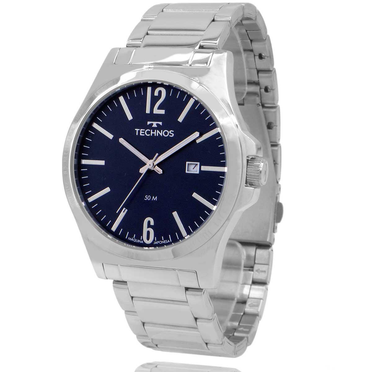 Relógio Technos Masculino Prata e Azul com Carteira Lebrave 2115LAY1A