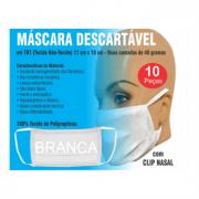 Máscara Descartável Tnt Duplo E Clip Nasal - Pcte Com 10 Und - BRANCA