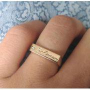 Anel Chapinha Nome com Zircônia em Prata Banhado a Ouro