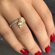 Anel Cravejado Menina(o) e Coração Banhado a Ouro